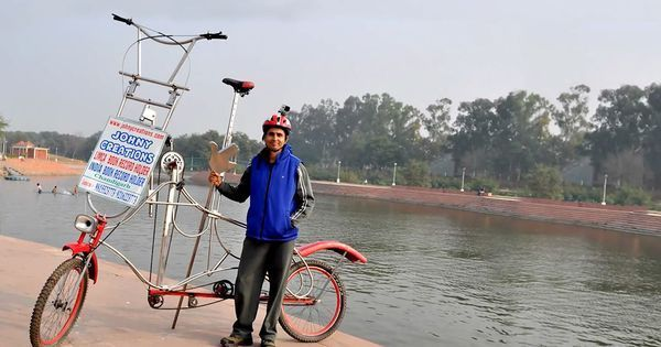 Video: A man from Chandigarh is eyeing a cycling world record with his super size bike