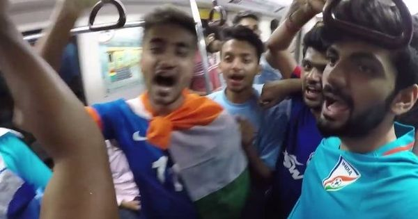 Watch Indian football fans conducting a musical hijack of a coach in the Delhi Metro