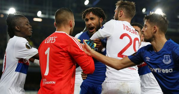Everton fan accused of punching Lyon players during ill-tempered Europa League match