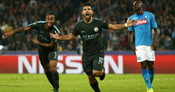 Sergio Aguero becomes Manchester City's all-time top scorer in 4-2 win over Napoli