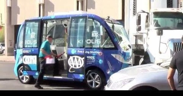 Watch: Self-driving shuttle in Las Vegas involved in crash within its first two hours of travel