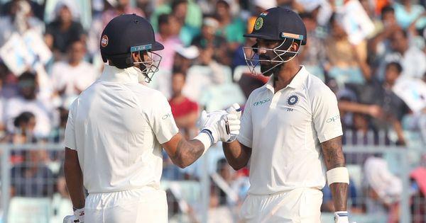 Rahul, Dhawan put India ahead after Herath gave Sri Lanka a 122-run lead in Kolkata