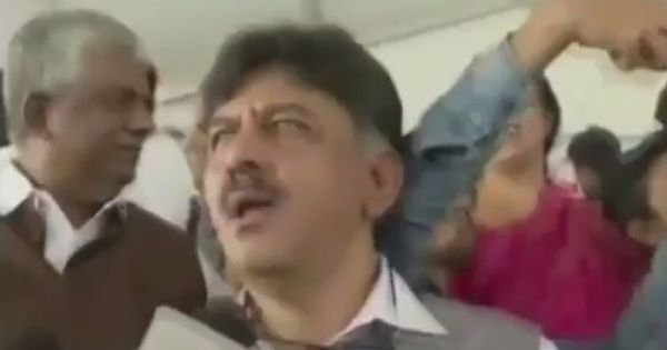 Caught on camera: Karnataka minister DK Shivakumar swats man trying to take a selfie