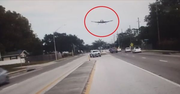 A scary plane crash was caught on the dashboard camera of two policemen in Florida. Watch.