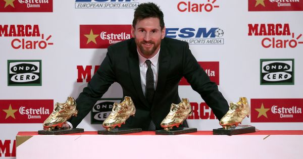 Barcelona's Lionel Messi picks up fourth European Golden Shoe award