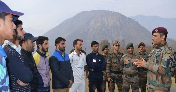 Lieutenant Colonel at work: MS Dhoni offers tips to Kashmir's budding cricketers