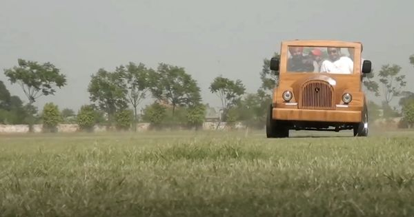 Video: This cute car that clocks 120 kms per hour was made using wood by a father-son duo in Punjab