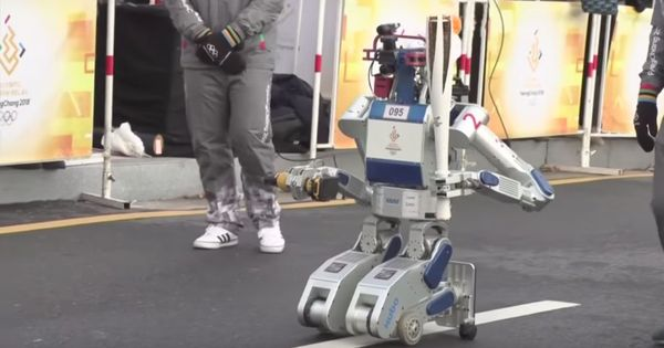 Look who carried the Olympic torch for the Pyeongchang Winter Games in South Korea: a robot