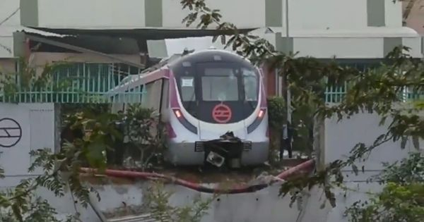 Unmanned Delhi Metro train on trial run crashes through the wall of a depot