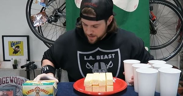 Watch: This competitive eater ate eight fat sticks of butter in three minutes for a world record