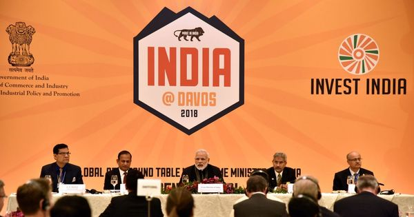 'India means business,' says Narendra Modi at meeting with global CEOs in Davos