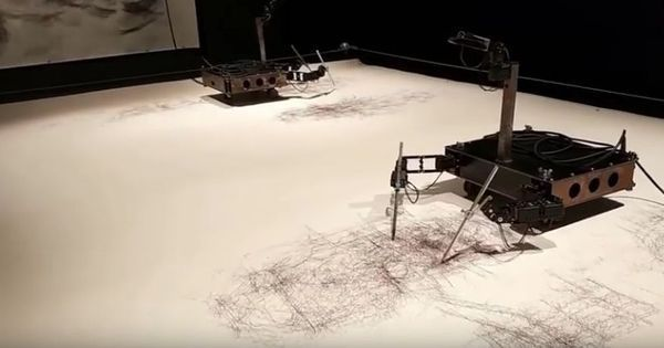 Watch: This artist has an entire room full of robots who create art work and sketch portraits