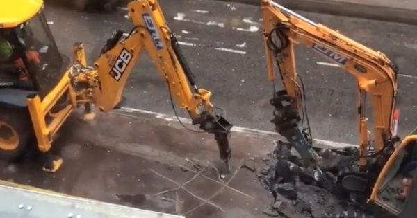 Watch: These construction workers were getting bored, so they played tic tac toe with their drills