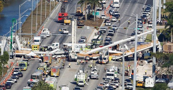 US: Six killed, 8 vehicles trapped as foot overbridge collapses in Florida