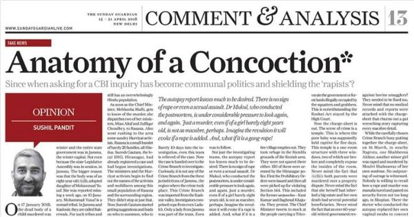Fake news: This Indian newspaper chose to publish a 'concocted' story on the Kathua rape case