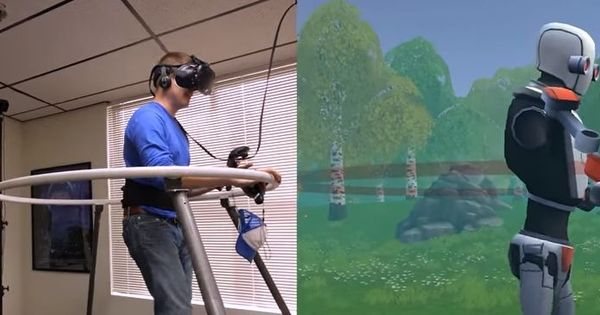 Watch: This new device will let you walk on a treadmill while exploring a virtual reality world