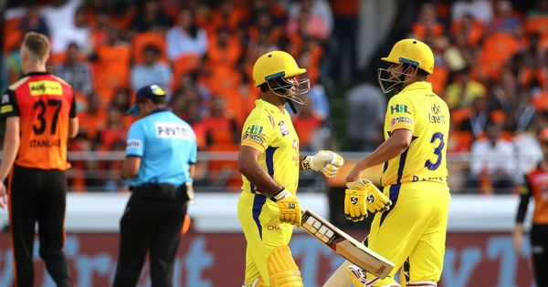 IPL 2018, SRH v CSK, live: Rayudu run out in a mix-up after a 27-ball fifty