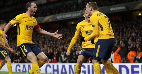 Antoine Griezmann's strike helps 10-man Atletico Madrid hold Arsenal 1-1 in Europa League semis