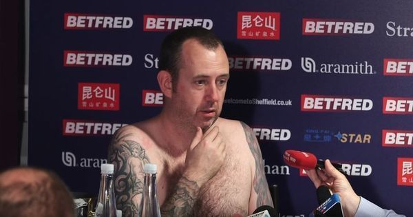 Video: Mark Williams keeps his word and comes naked for presser after winning third snooker title