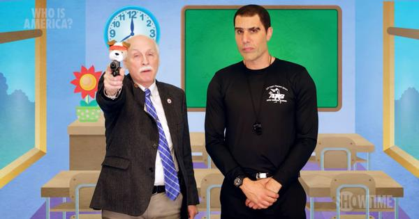 Watch: Comedian Sacha Baron Cohen dupes US Republicans into backing a fake programme to arm toddlers