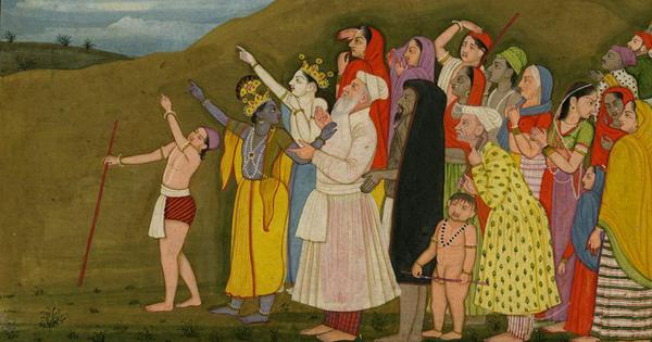 Krishna wasn't pointing at Eid moon. But it's a traditional miniature – unlike modern communal ones