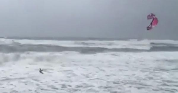 Watch: When Hurricane Florence hit the US, this man decided it was the right time to go kite-surfing