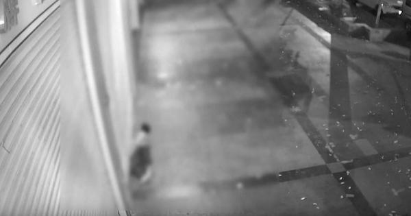 Caught on camera: This thief squeezed himself through a metal shutter to rob a jewellery store