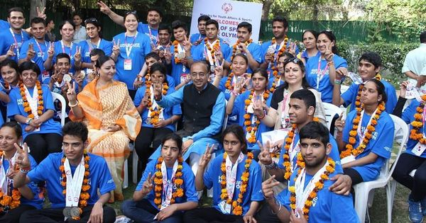 Sports Minister Vijay Goel felicitates India's Special Olympics contingent that won record 73 medals