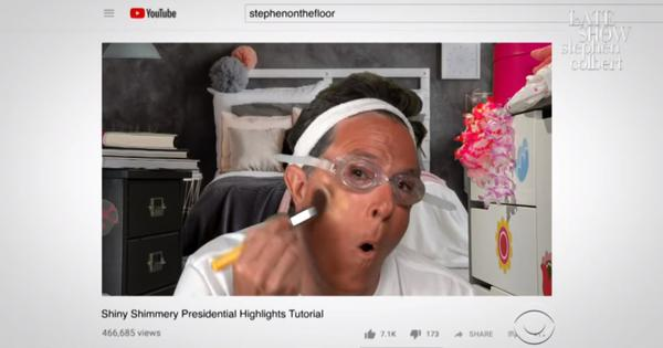 Watch: Stephen Colbert reveals how to get the latest Donald Trump look in mock makeup tutorial