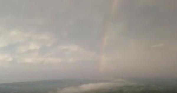 Watch: This drone captured the rare combination of a rainbow and lightning