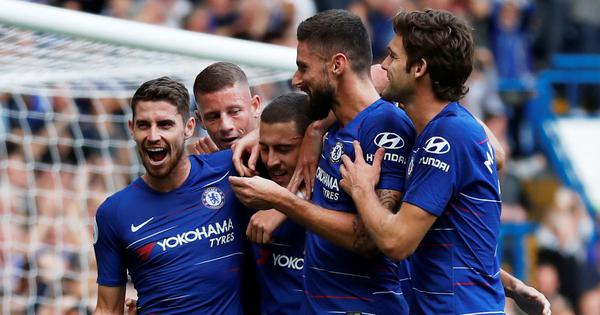 Eden Hazard scores hat-trick as Chelsea keep pace with Liverpool at top of the table