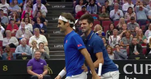 Watch: Djokovic's booming forehand rams right into doubles partner Federer's back in Laver Cup