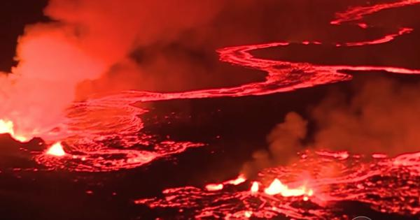 Watch: Lava spurts continuously from the Kilauea volcano in Hawaii as night turns into day