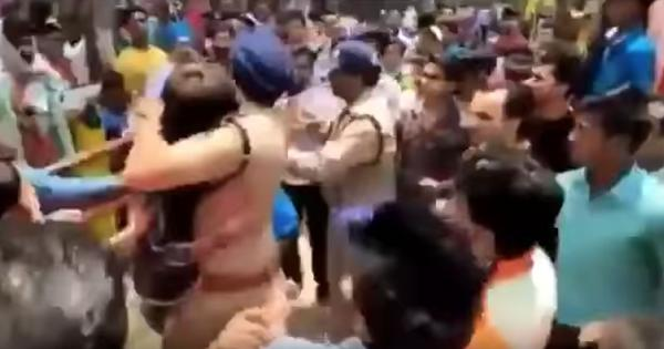 Watch: Sikh police officer physically protects young man from mounting mob fury in Uttarakhand