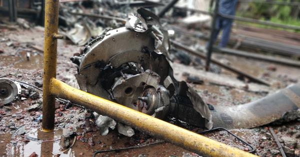 In photos: Flames, smoke billow out of the plane crash site in Mumbai's Ghatkopar