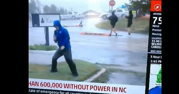 Watch: Weatherman dramatically prepares himself for Hurricane Florence while others casually walk by