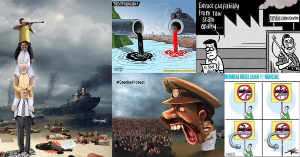 After violent crackdown on Thoothukudi protests, cartoonists take aim at police brutality