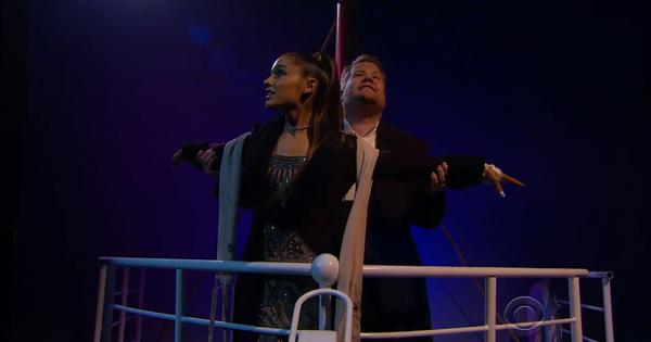 Watch: Ariana Grande and James Corden re-enact 'Titanic' with a medley of pop songs