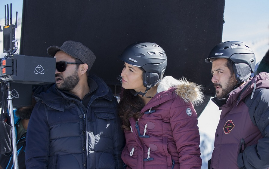 Ali Abbas Zafar, Katrina Kaif and Salman Khan on the sets of Tiger Zinda Hai. Courtesy Yash Raj Films.