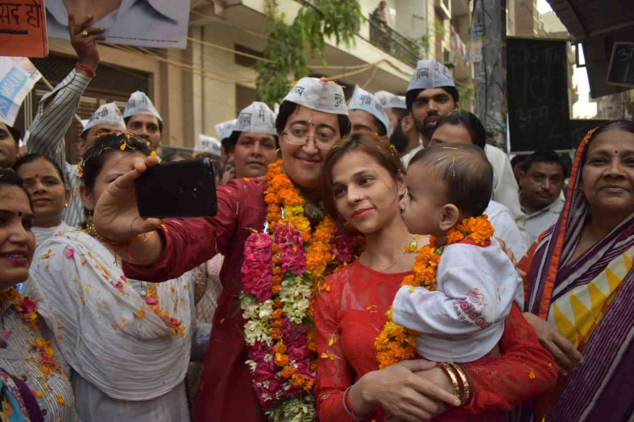 AAP candidate Atishi on the campaign trail for the Lok Sabha election. Credit: Atishi via Twitter