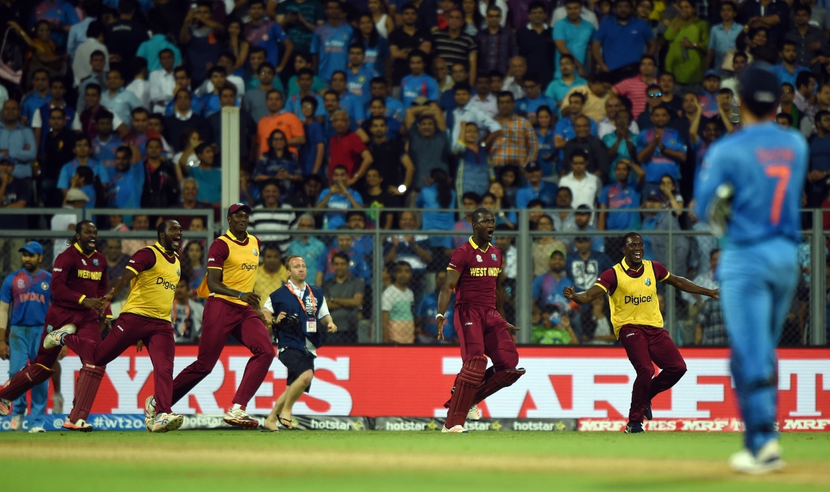 The West Indies silenced the Wankhede in their World T20 semi-final against India (Image credit: AFP)