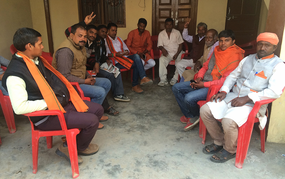 Political workers of the BJP at the party's campaign office for Malhani constituency.