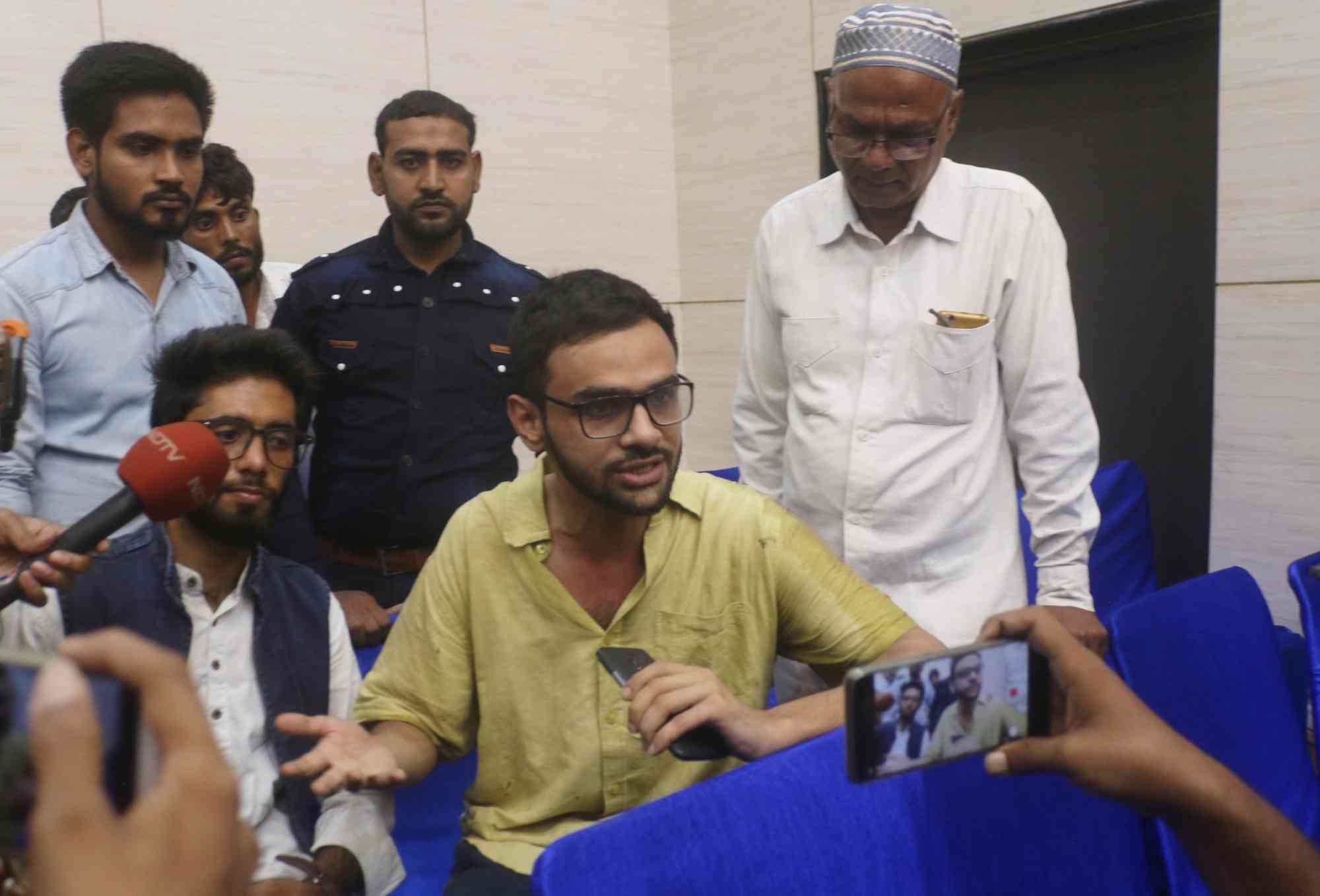 Umar Khalid addresses a press conference after the attack on him on Monday. (Photo credit: IANS).