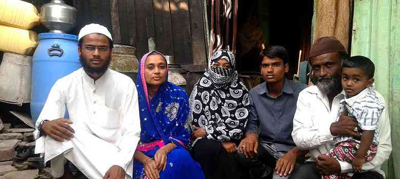 Maulana Mujeeb-ur-Rahman's family after his arrest in 2015. Photo credit: Aarefa Johari