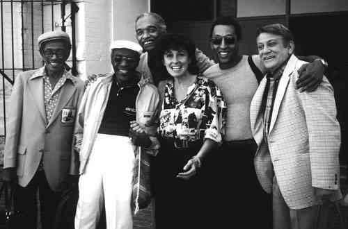 Left to right: Eddie Brown, Jimmy Slyde, Honi Coles, Sarah Petronio, Gregory Hines and Steve Condos at the Colorado Tap Festival. Photo courtesy: Peter Petronio.