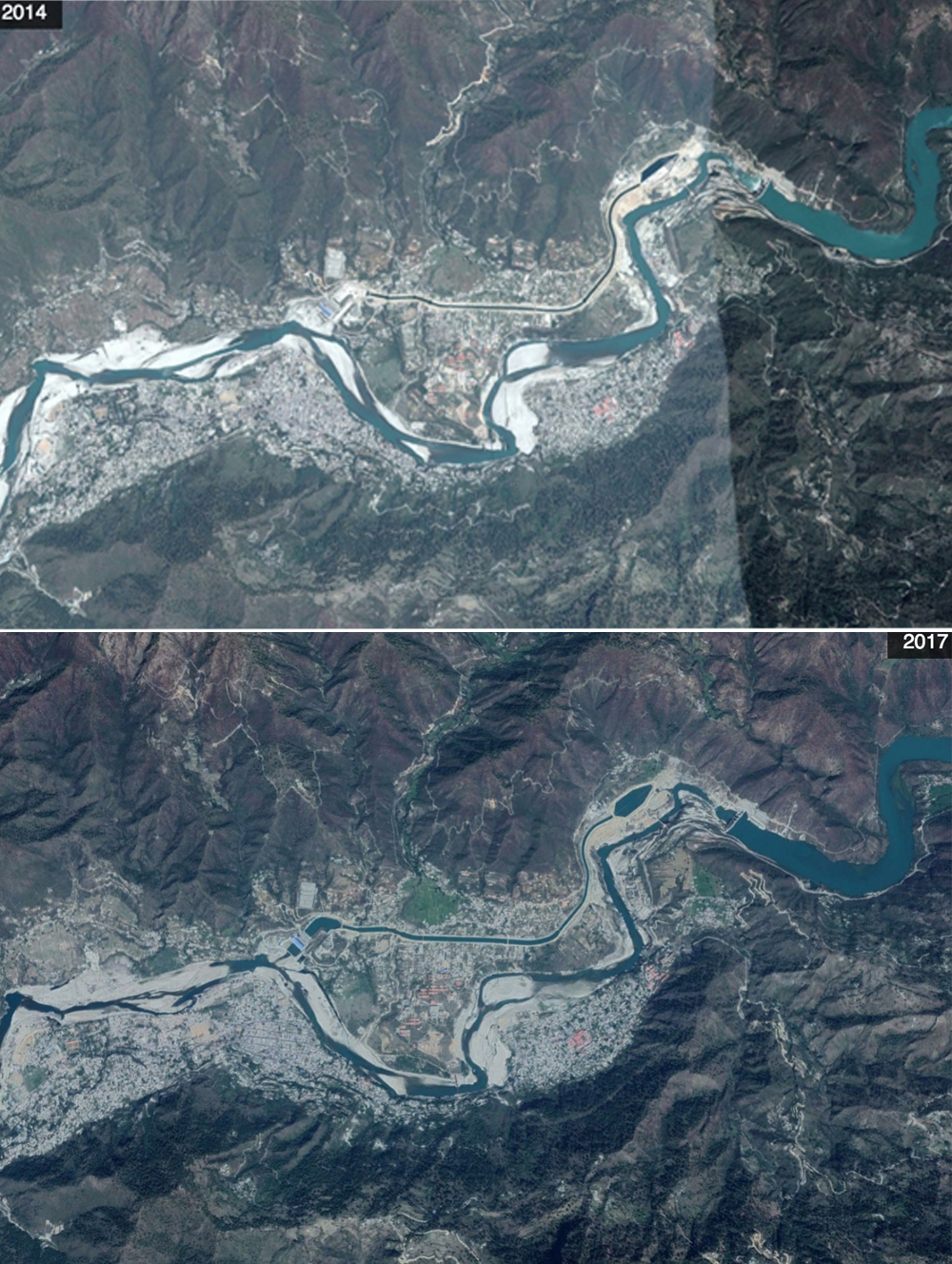 A comparative map of the change in river Alaknanda's flow near Srinagar, Uttarakhand, post the tragedy in 2014 and then in 2017 as the hydroelectric project continues to function. Credit: Google Maps