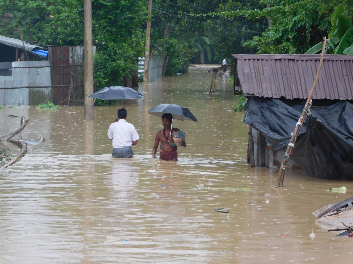 A scene from an affected village in Tripura