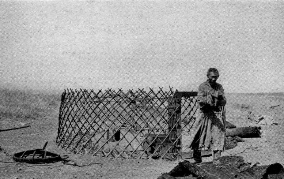 """The Framework of a 'Yurt'"", featured in Across Mongolian Plains (1921)."