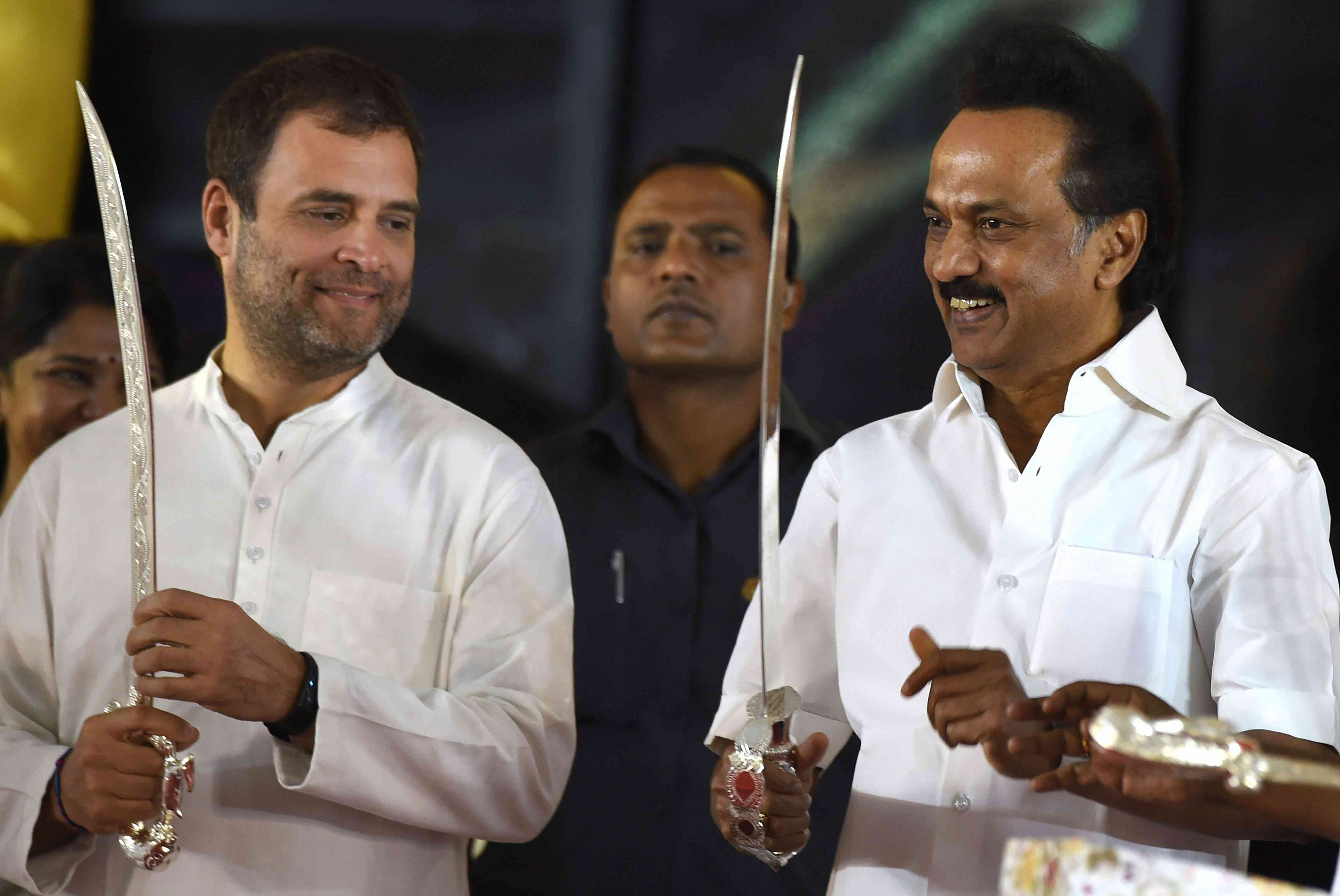 Congress President Rahul Gandhi and Dravida Munnetra Kazhagam chief MK Stalin at the unveiling of M Karunanidhi's statue in Chennai in December. The two parties are in talks for an alliance in Tamil Nadu. (Photo credit: PTI).