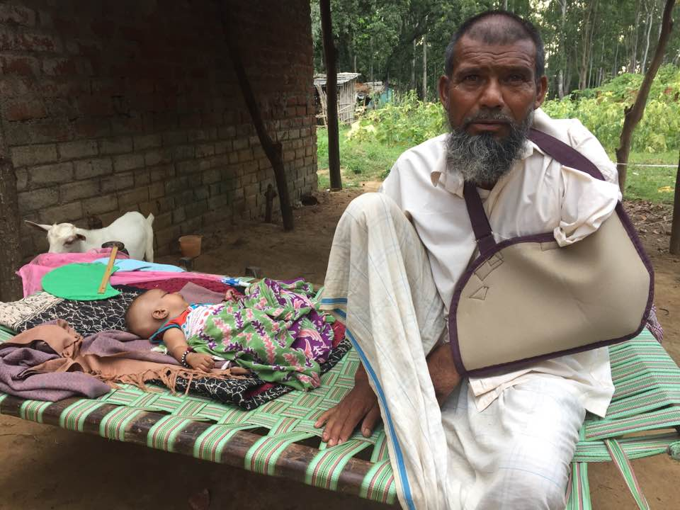 Usman Ansari, who was beaten by a Hindu lynch mob, taken for dead and his house burned down, at an undisclosed location in Jharkhand. He was rescued by the police just as he was about to be burned. (Credit: John Dayal)